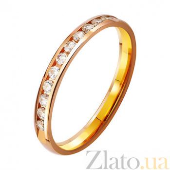 Золотое обручальное кольцо Навеки вдвоем с фианитами TRF--412821