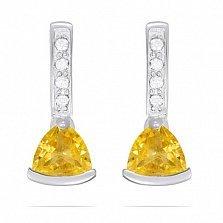 Серьги из белого золота Марлена с цитрином и фианитами