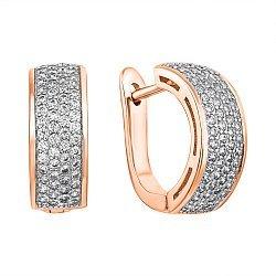 Позолоченные серебряные серьги с цирконием 000029124