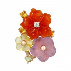 Золотой кулон Весенний букет с бриллиантом, аметистом, сердоликом, хризолитом и цитрином 000102216
