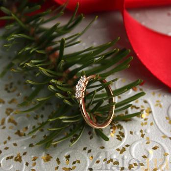 Золотое кольцо с фианитами в красном цвете Дарина 000023214