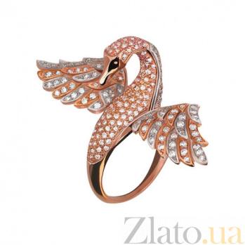 Кольцо из красного золота Лебедь с фианитами VLT--ТТ1065-2