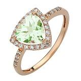 Золотое кольцо Габриэлла с зелёным аметистом и фианитами