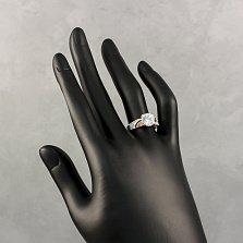 Серебряное кольцо Виана с золотыми накладками и фианитами