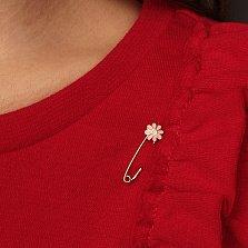 Детская золотая булавка Ромашка с розовой эмалью