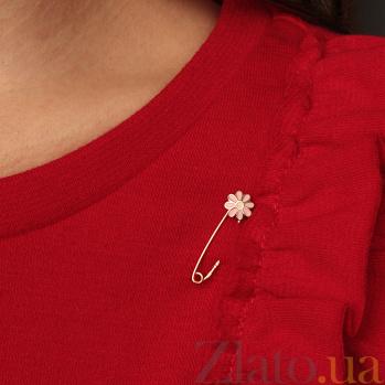 Детская золотая булавка Ромашка с розовой эмалью 000067779