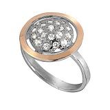 Кольцо из серебра с золотом и фианитами Метеорит