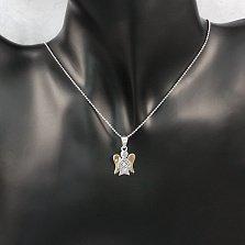 Серебряная подвеска Ангелочек с фианитом и золотыми накладками
