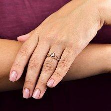 Золотое кольцо Герцогиня в форме короны с фианитами