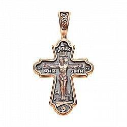Православный крестик из красного золота с чернением 000130861