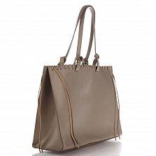 Кожаная сумка на каждый день Genuine Leather 8038 цвета тауп с удлиненными ручками