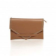 Кожаный клатч Genuine Leather 8056 коричневого цвета с плечевым ремнем и молнией-застежкой