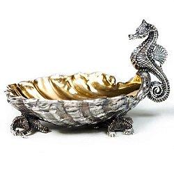 Серебряная икорница Морской конек с позолотой