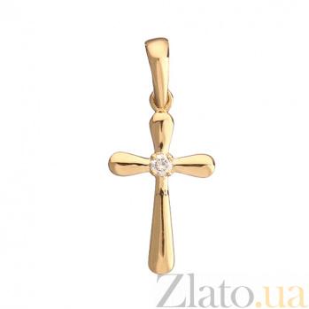 Крестик в желтом золоте Истина с бриллиантом 000079197