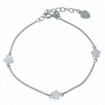 Серебряный браслет Три звезды с белым перламутром