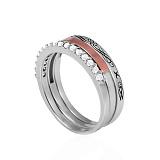 Серебряное кольцо Амур золотой вставкой и фианитами