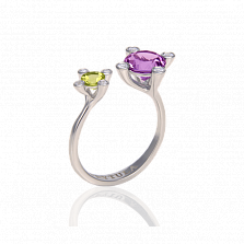 Золотое кольцо Кассиопея с аметистом, хризопразом и бриллиантами в крапанах