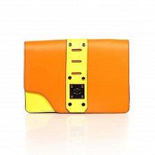 Кожаный клатч Genuine Leather 8917 лимонно-оранжевого цвета с декоративной пряжкой