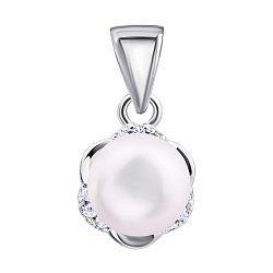 Серебряная подвеска с жемчугом и фианитами 000132603