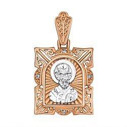 Ладанка из красного золота с фианитами и родированием Николай Чудотворец 000133539