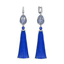 Серебряные серьги-подвески Кораллы с синим полимером и фианитами