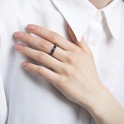 Золотое черненое кольцо с черными бриллиантами 000116506