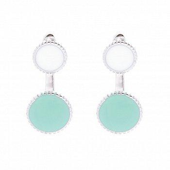 Серебряные серьги-пуссеты с белой и голубой эмалью 000087990
