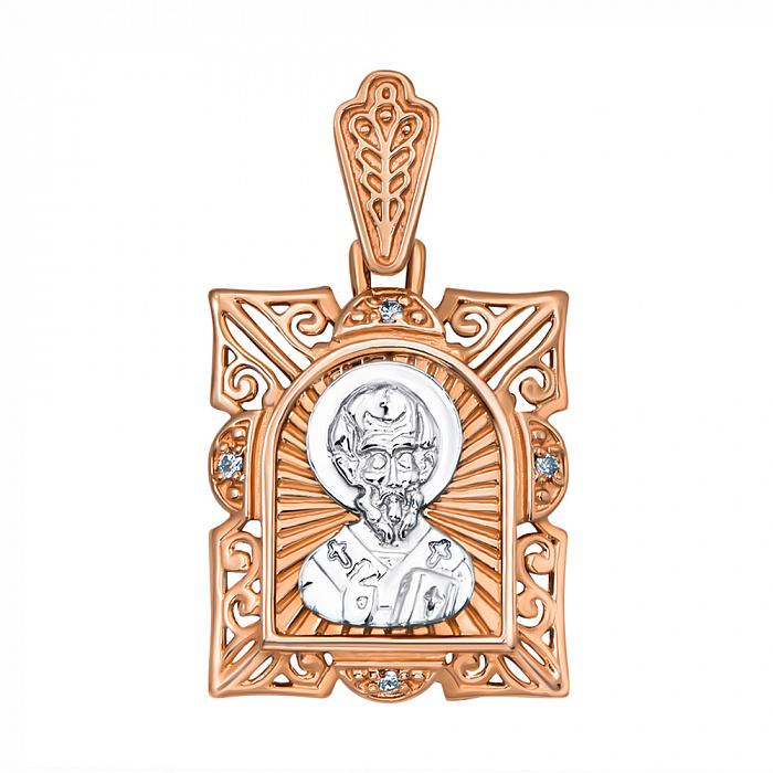 Ладанка из красного золота с фианитами и родированием Николай Чудотворец 000133539 000133539