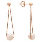 Позолоченные серебряные серьги-подвески с жемчугом Норине