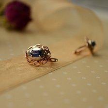Золотые серьги Малинея в комбинированном цвете с сапфиром
