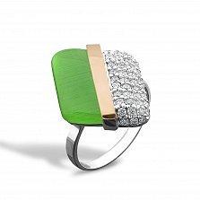 Серебряное кольцо Элоиза с золотой накладкой, зеленым улекситом, фианитами и родием