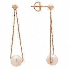 Позолоченные серебряные серьги-подвески Норина с жемчугом