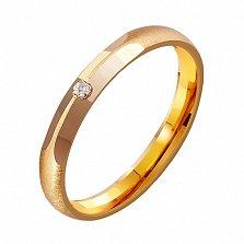 Золотое обручальное кольцо Мелодия нежности с фианитом