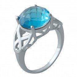 Серебряное кольцо с синтезированным аквамарином 000128349