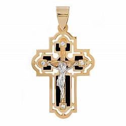 Золотой крест со вставками оникса Сила небес 000033464