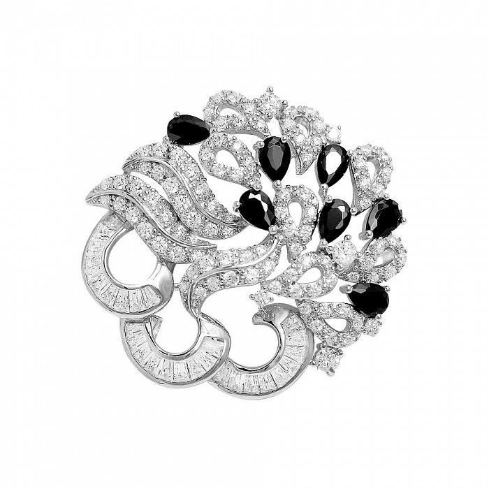 Серебряная брошь Фрейя с черными и белыми фианитами 000081974