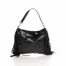 Кожаный клатч Genuine Leather 8466 черного цвета с бахромой и короткой ручкой