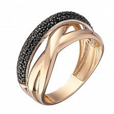 Кольцо в красном золоте Алена с черными фианитами
