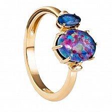 Золотое кольцо Керри с сапфиром и опалом