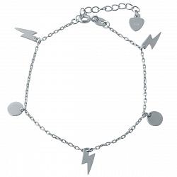 Серебряный браслет на ногу Игра символов с подвесками в форме круга и молнии