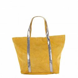 Замшевая сумка на каждый день Genuine Leather 8003 желтого цвета на молнии с пайетками