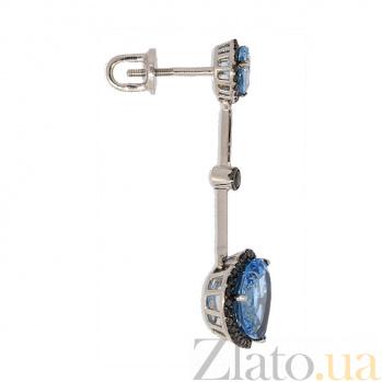 Серьги-подвески в белом золоте с топазами и чёрными бриллиантами Танго ZMX--ETDb-6609w_K