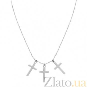 Колье в белом золоте Три креста 000023864