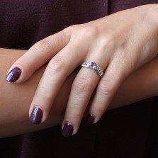 Серебряное кольцо Лила с аметистом, цирконием и сердечками на шинке