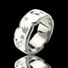 Эксклюзивное обручальное кольцо Полет Ласточек с белыми бриллиантами и эмалью