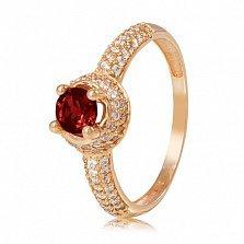 Золотое кольцо Шарлотта с гранатом и фианитами