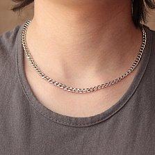 Серебряная родированная цепь Крейг с алмазной насечкой, 5мм