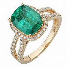 Кольцо из желтого золота с бриллиантами и изумрудом Бургунди