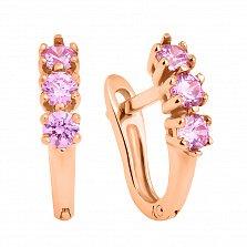 Золотые серьги Трио с розовыми кристаллами Swarovski