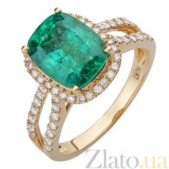 Кольцо из желтого золота с бриллиантами и изумрудом Бургунди R-03005